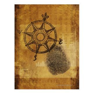 Antike Kompass-Rose mit Fingerabdruck Postkarte