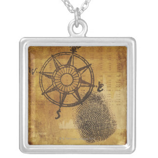 Antike Kompass-Rose mit Fingerabdruck Versilberte Kette
