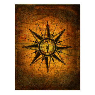 Antike Kompass-Rose Postkarte