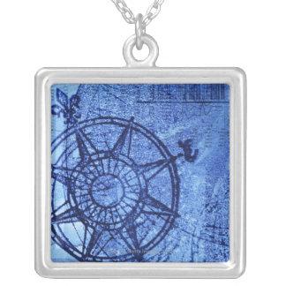 Antike Kompass-Rose Versilberte Kette