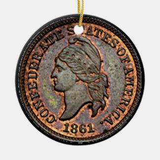 Antike kupferner verbündeter Penny des Geld-1861 Keramik Ornament