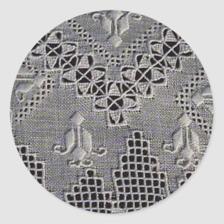 Antike Lefkara Stickerei Runder Aufkleber