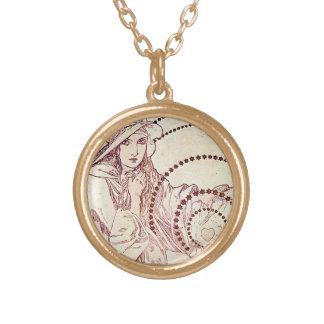 Antike Liebe Halskette Mit Rundem Anhänger