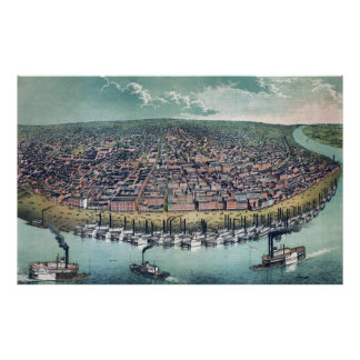 Antike Luftkarte des Saint Louis, Missouri, 1859 Poster