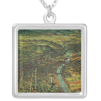 Antike Luftkarte von Los Angeles, Kalifornien Halskette Mit Quadratischem Anhänger