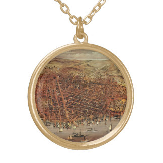 Antike Luftkarte von San Francisco, Kalifornien Vergoldete Kette