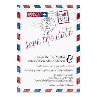 Antike Luftpost Save the Date 12,7 X 17,8 Cm Einladungskarte