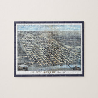 Antike Luftstadt-Karte von Austin, Texas, 1873 Puzzle
