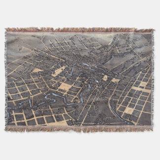 Antike Luftstadt-Karte von San Antonio, Texas 1873 Decke