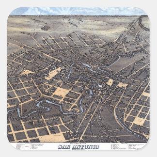 Antike Luftstadt-Karte von San Antonio, Texas 1873 Quadratischer Aufkleber
