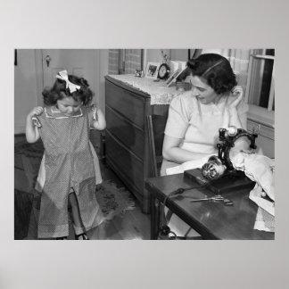 Antike Nähmaschine: Vierzigerjahre Poster