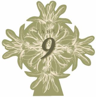 Antike olivgrüne BlumenTischnummer Freistehende Fotoskulptur