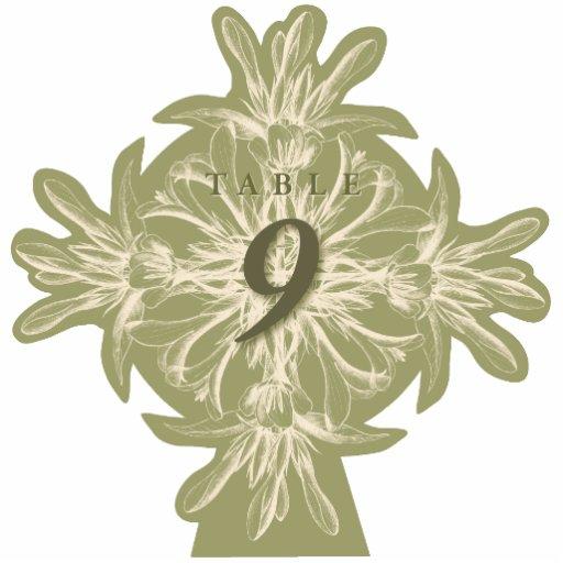 Antike olivgrüne BlumenTischnummer herausgeschnitt Fotofiguren