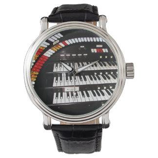 Antike Organ-Tastatur-Armbanduhr, Lederband Uhr