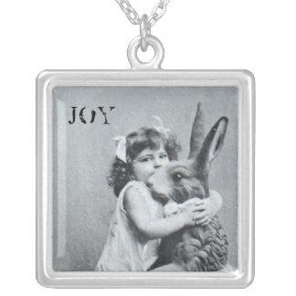 Antike Osterhasen-Freude-Postkarte Halskette Mit Quadratischem Anhänger