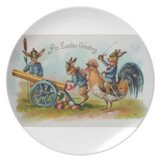 Antike Ostern-Postkarten-Militär-Häschen Flache Teller