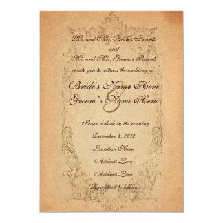 Antike ovale Pergament-Hochzeits-Einladung 12,7 X 17,8 Cm Einladungskarte