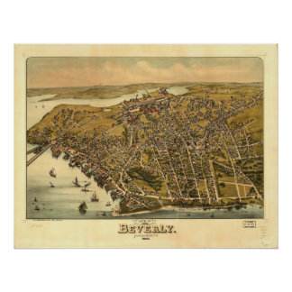 Antike panoramische Karte Beverly Massachusetts Poster