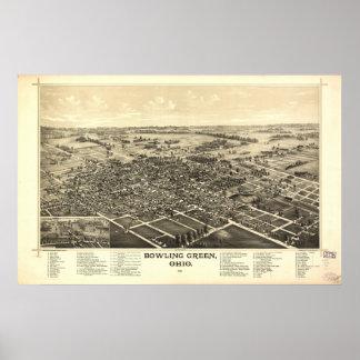Antike panoramische Karte Bowling Green Ohio 1888 Poster