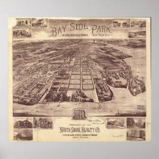 Antike panoramische Karte des Queens-New York 1915 Poster