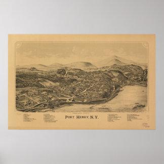 Antike panoramische Karte Hafen-Henrys New York Poster