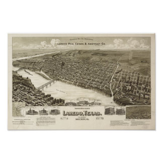 Antike panoramische Karte Laredos Texas 1892 Poster