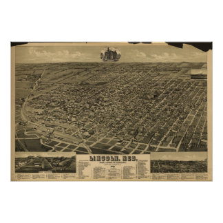 Antike panoramische Karte Lincolns Nebraska 1889 Poster