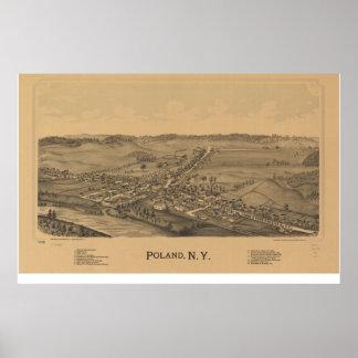 Antike panoramische Karte Polens New York 1890 Poster