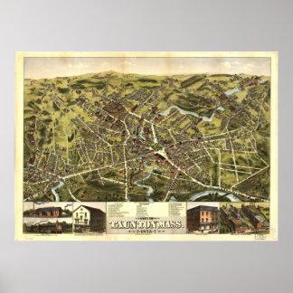 Antike panoramische Karte Tauntons Massachusetts Poster