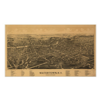 Antike panoramische Karte Watertowns New York 1891 Poster