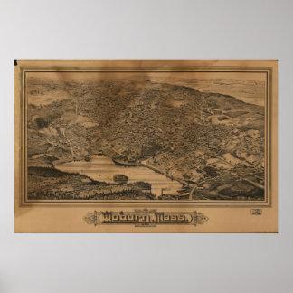 Antike panoramische Karte Woburn Massachusetts Poster