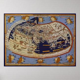 Antike Ptolemaic Weltkarte, Johannes von Arnsheim Poster