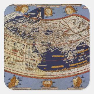 Antike Ptolemaic Weltkarte, Johannes von Arnsheim Quadratischer Aufkleber