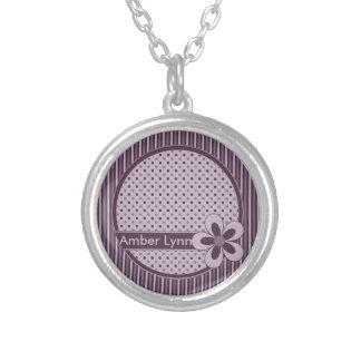 Antike Purpur-Blume, Streifen, Polka-Punkte Amulett
