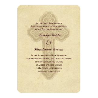 Antike quere katholische Hochzeits-Einladung 12,7 X 17,8 Cm Einladungskarte