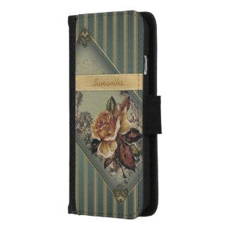 Antike Rose (blau) personalisiert iPhone 8/7 Geldbeutel-Hülle