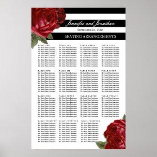 Antike Rote Rosen und schwarze Streifen, die Poster