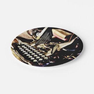 Antike Schreibmaschine Oliver #9 Pappteller