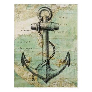 Antike Seekarte mit Anker Postkarten
