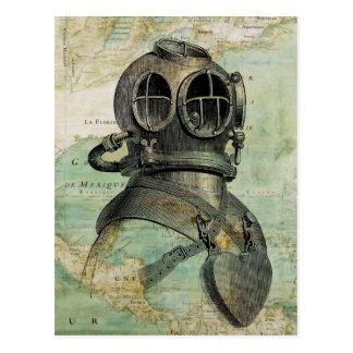 Antike Seekarten-u. Tauchen-Sturzhelm-Postkarte Postkarte