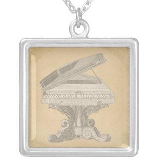 Antike Tabellen-Klavier-Linie Zeichnen Halskette Mit Quadratischem Anhänger