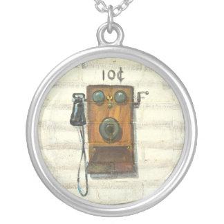 antike Telefonhalskette Halskette Mit Rundem Anhänger
