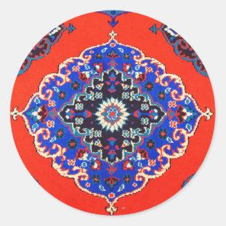 Antike türkische Textilteppich-Wolldecken Kilims Runder Aufkleber