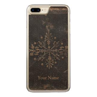 Antike verblaßte Goldblatt-Holz Carved iPhone 8 Plus/7 Plus Hülle