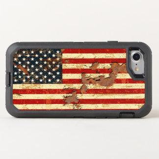 Antike verrostete amerikanische Flagge USA OtterBox Defender iPhone 8/7 Hülle
