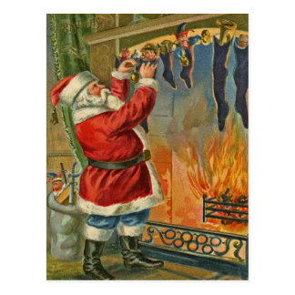 Antike, Vintag-Sankt Weihnachtspostkarte Postkarte