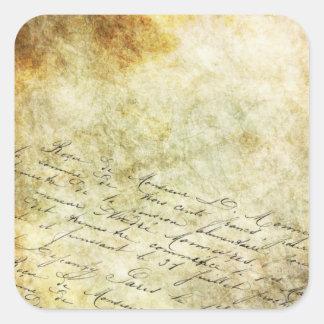 Antike Vintage Handschrift auf Quadratischer Aufkleber
