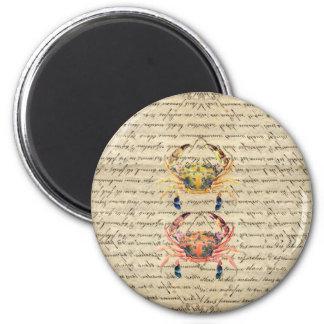 Antike Vintage Krabbenillustration Runder Magnet 5,7 Cm
