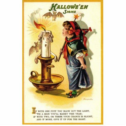 Antike/Vintage stehende Plakette Halloweens Photo Skulpturen
