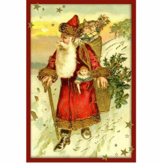 Antike Vintage Vater-Weihnachtssankt-Verzierung Fotoskulptur Ornament